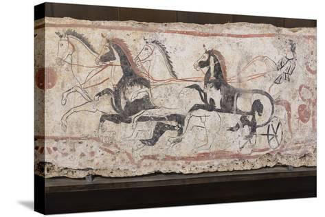 Charioteer and Horses, Painted Tomb Slab Detail, National Archaeological Museum-Eleanor Scriven-Stretched Canvas Print