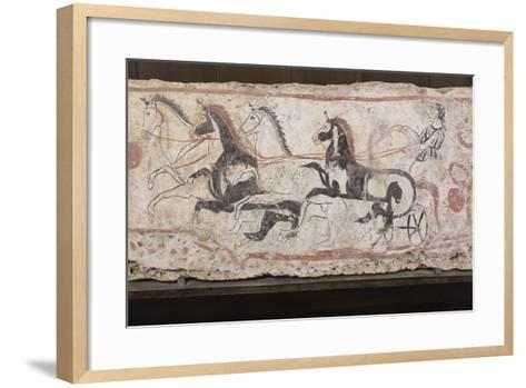 Charioteer and Horses, Painted Tomb Slab Detail, National Archaeological Museum-Eleanor Scriven-Framed Art Print