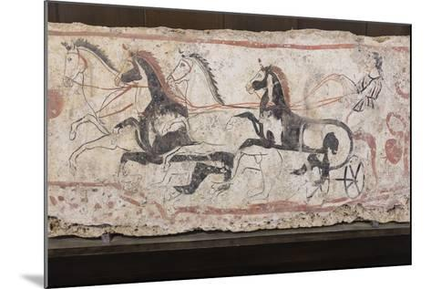 Charioteer and Horses, Painted Tomb Slab Detail, National Archaeological Museum-Eleanor Scriven-Mounted Photographic Print