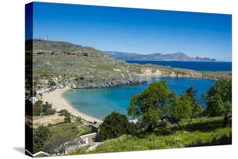 Pallas Beach in Lindos, Rhodes, Dodecanese Islands, Greek Islands, Greece, Europe-Michael Runkel-Stretched Canvas Print