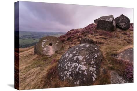 Millstone Amongst Heather and Lichen Covered Boulders at Dawn-Eleanor Scriven-Stretched Canvas Print