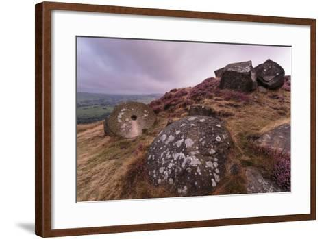 Millstone Amongst Heather and Lichen Covered Boulders at Dawn-Eleanor Scriven-Framed Art Print