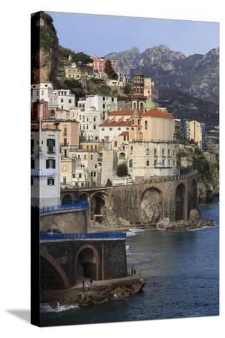Church of Santa Maria Maddalena and Coast Road-Eleanor Scriven-Stretched Canvas Print