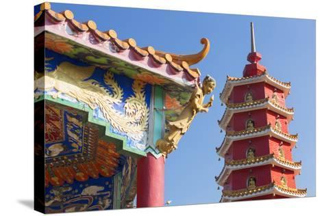 Pagoda at Ten Thousand Buddhas Monastery, Shatin, New Territories, Hong Kong, China, Asia-Ian Trower-Stretched Canvas Print