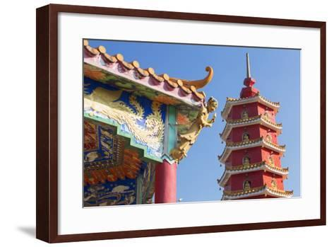 Pagoda at Ten Thousand Buddhas Monastery, Shatin, New Territories, Hong Kong, China, Asia-Ian Trower-Framed Art Print