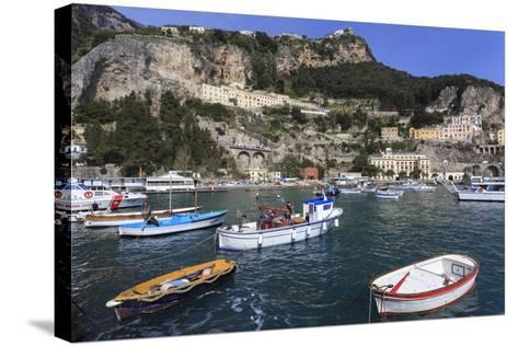 Fishing Boats in Amalfi Harbour-Eleanor Scriven-Stretched Canvas Print