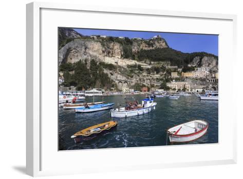 Fishing Boats in Amalfi Harbour-Eleanor Scriven-Framed Art Print
