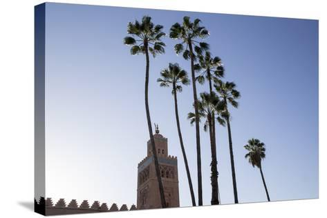 Minaret of Koutoubia Mosque with Palm Trees, UNESCO World Heritage Site, Marrakesh, Morocco-Stephen Studd-Stretched Canvas Print