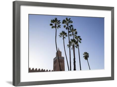 Minaret of Koutoubia Mosque with Palm Trees, UNESCO World Heritage Site, Marrakesh, Morocco-Stephen Studd-Framed Art Print