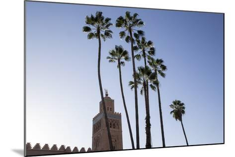 Minaret of Koutoubia Mosque with Palm Trees, UNESCO World Heritage Site, Marrakesh, Morocco-Stephen Studd-Mounted Photographic Print