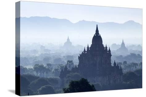 North Guni Temple, Pagodas and Stupas in Early Morning Mist at Sunrise, Bagan (Pagan)-Stephen Studd-Stretched Canvas Print