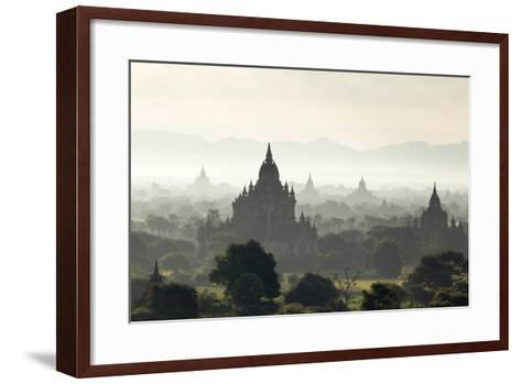 North and South Guni Temples Pagodas and Stupas in Early Morning Mist at Sunrise-Stephen Studd-Framed Art Print