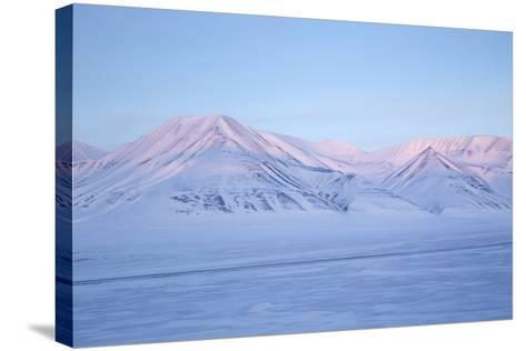 View Towards Dirigenten Mountain and Tenoren across Adventdalen Valley at Sunset-Stephen Studd-Stretched Canvas Print