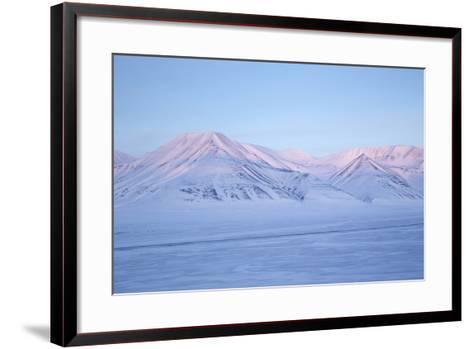 View Towards Dirigenten Mountain and Tenoren across Adventdalen Valley at Sunset-Stephen Studd-Framed Art Print