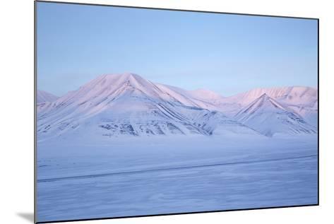 View Towards Dirigenten Mountain and Tenoren across Adventdalen Valley at Sunset-Stephen Studd-Mounted Photographic Print