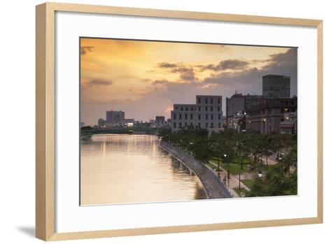 View of Park and Ben Ngde River at Sunset, Ho Chi Minh City, Vietnam, Indochina-Ian Trower-Framed Art Print