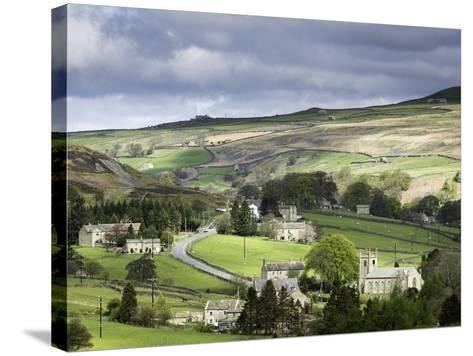 View of the Village of Langthwaite in Arkengarthdale, Yorkshire, England, United Kingdom-John Woodworth-Stretched Canvas Print