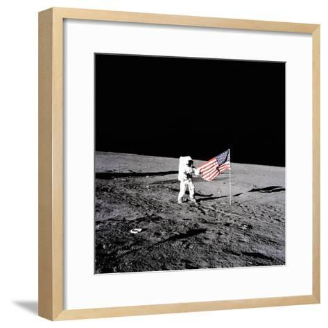 """Apollo 12 Astronaut Charles """"Pete"""" Conrad Stands Beside the United States Flag--Framed Art Print"""