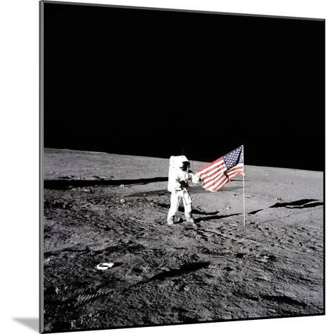 """Apollo 12 Astronaut Charles """"Pete"""" Conrad Stands Beside the United States Flag--Mounted Photo"""