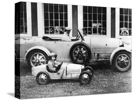 Jean Bugatti and Roland Bugatti Sons of Ettore Bugatti in Cars Made by their Father, C. 1928--Stretched Canvas Print