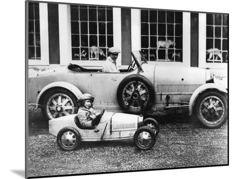 Jean Bugatti and Roland Bugatti Sons of Ettore Bugatti in Cars Made by their Father, C. 1928--Mounted Photo