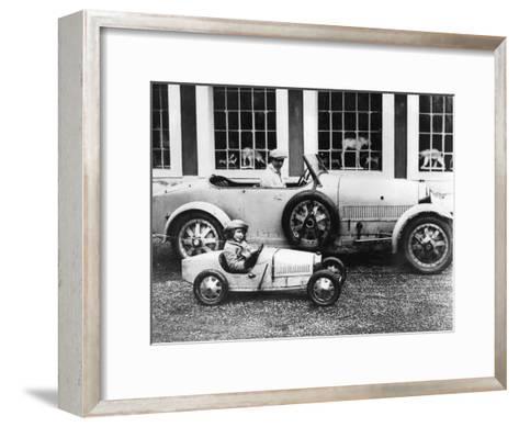 Jean Bugatti and Roland Bugatti Sons of Ettore Bugatti in Cars Made by their Father, C. 1928--Framed Art Print