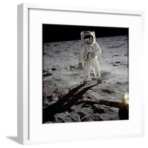 "1st Steps of Human on Moon: American Astronaut Edwin ""Buzz"" Aldrinwalking on the Moon--Framed Art Print"