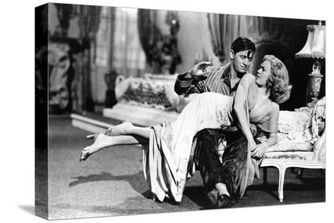 Woman Laid on the Kneel of a Man Have Her Bottom Smacked, 40'S--Stretched Canvas Print