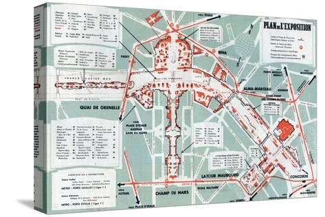 Map of the World Fair, Paris, 1937--Stretched Canvas Print