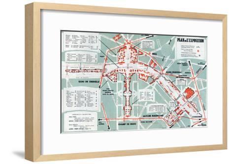 Map of the World Fair, Paris, 1937--Framed Art Print