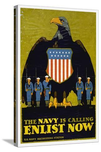 US Navy Vintage Poster - the Navy Is Calling-Lantern Press-Stretched Canvas Print