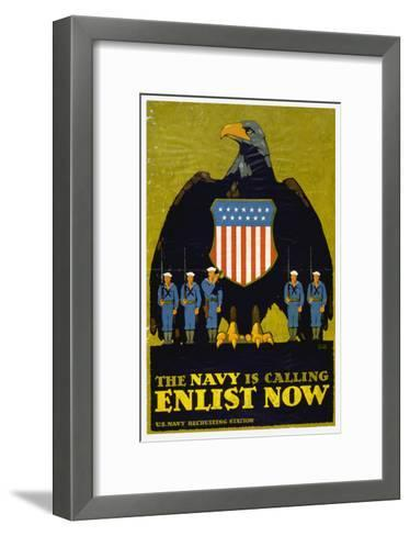 US Navy Vintage Poster - the Navy Is Calling-Lantern Press-Framed Art Print