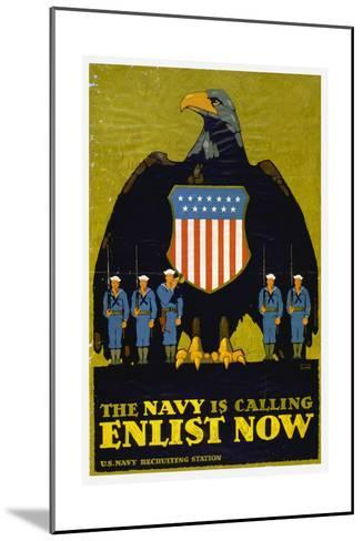 US Navy Vintage Poster - the Navy Is Calling-Lantern Press-Mounted Art Print
