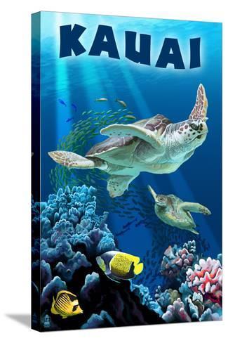 Kauai, Hawaii - Sea Turtle Swimming-Lantern Press-Stretched Canvas Print