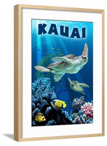Kauai, Hawaii - Sea Turtle Swimming-Lantern Press-Framed Art Print
