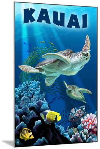 Kauai, Hawaii - Sea Turtle Swimming-Lantern Press-Mounted Art Print