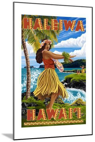 Hawaii Hula Girl on Coast - Haleiwa, Hawaii-Lantern Press-Mounted Art Print