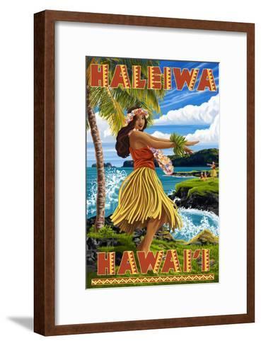 Hawaii Hula Girl on Coast - Haleiwa, Hawaii-Lantern Press-Framed Art Print