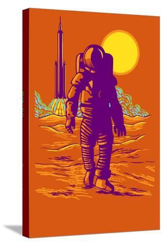 Astronaut and Rocket-Lantern Press-Stretched Canvas Print