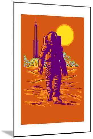 Astronaut and Rocket-Lantern Press-Mounted Art Print