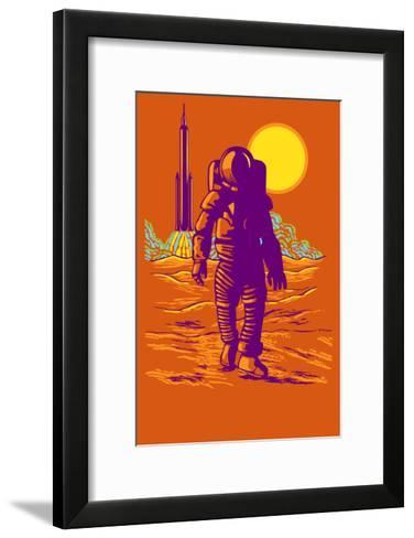 Astronaut and Rocket-Lantern Press-Framed Art Print