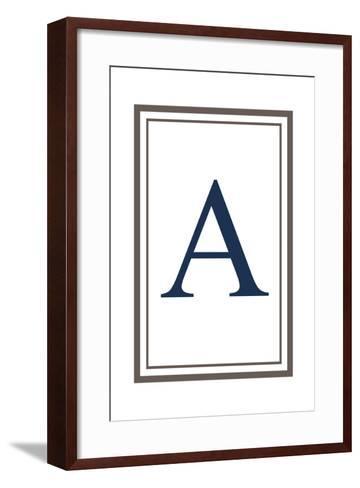 Monogram - Estate - Gray and Blue - A-Lantern Press-Framed Art Print