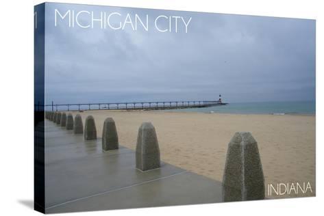 Michigan City, Indiana - Lighthouse 2-Lantern Press-Stretched Canvas Print