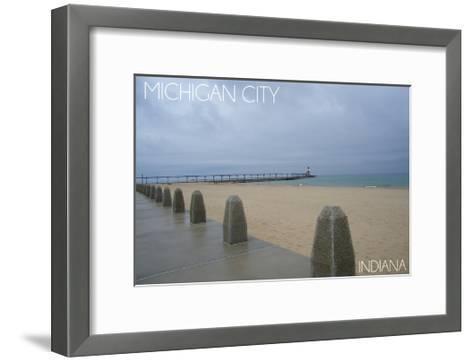 Michigan City, Indiana - Lighthouse 2-Lantern Press-Framed Art Print