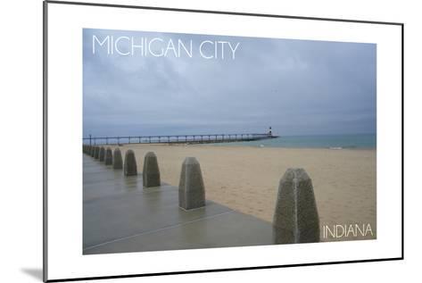 Michigan City, Indiana - Lighthouse 2-Lantern Press-Mounted Art Print