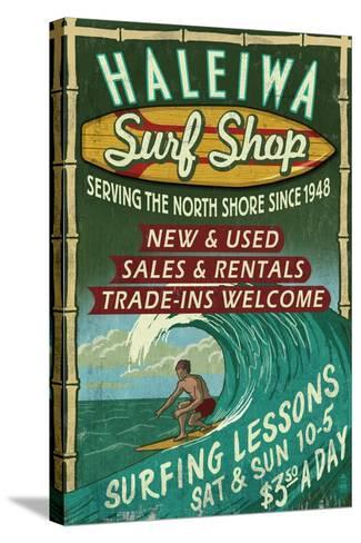 Haleiwa, Hawaii - Surf Shop Vintage Sign-Lantern Press-Stretched Canvas Print