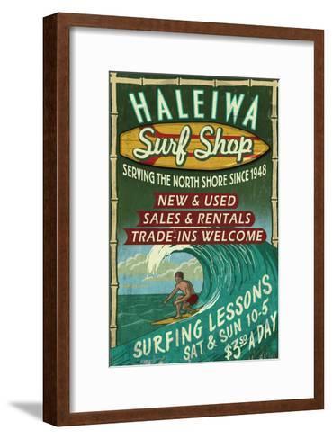 Haleiwa, Hawaii - Surf Shop Vintage Sign-Lantern Press-Framed Art Print