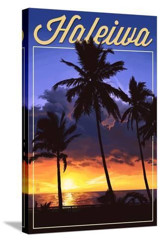 Haleiwa, Hawaii - Palms and Sunset-Lantern Press-Stretched Canvas Print
