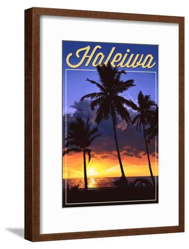Haleiwa, Hawaii - Palms and Sunset-Lantern Press-Framed Art Print