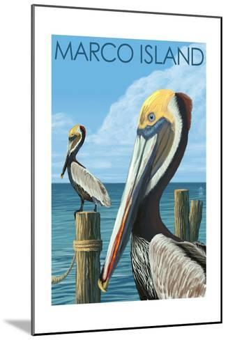 Marco Island - Pelicans-Lantern Press-Mounted Art Print